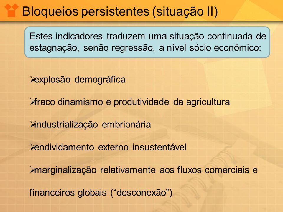 Bloqueios persistentes (situação II) Estes indicadores traduzem uma situação continuada de estagnação, senão regressão, a nível sócio econômico: explo