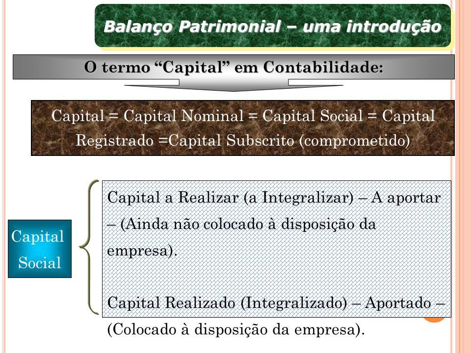 Balanço Patrimonial – uma introdução ORIGENS X APLICAÇÕES Balanço Patrimonial AtivoP e PL (origens) Aplicações De terceiros e próprio $$$$$$$$ $$$ $ $$$$$$$$ Proprietários (PL) FornecedoresGovernoBancos Financeiras etc.