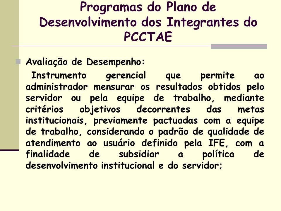 Programas do Plano de Desenvolvimento dos Integrantes do PCCTAE Avaliação de Desempenho: Instrumento gerencial que permite ao administrador mensurar o