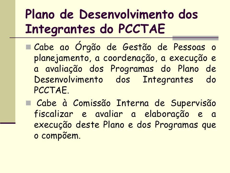 Plano de Desenvolvimento dos Integrantes do PCCTAE Cabe ao Órgão de Gestão de Pessoas o planejamento, a coordenação, a execução e a avaliação dos Prog