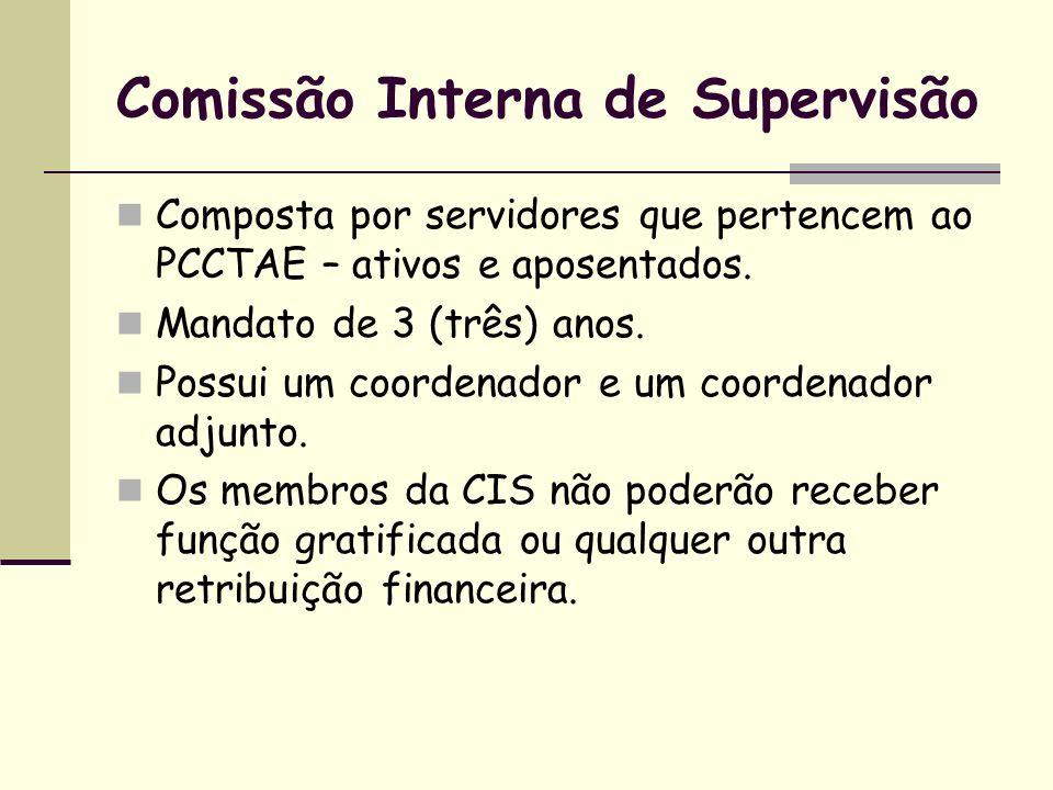 Comissão Interna de Supervisão Composta por servidores que pertencem ao PCCTAE – ativos e aposentados. Mandato de 3 (três) anos. Possui um coordenador