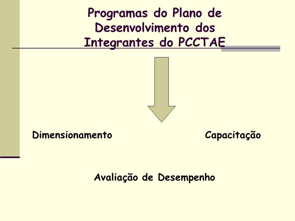 Programas do Plano de Desenvolvimento dos Integrantes do PCCTAE Dimensionamento Capacitação Avaliação de Desempenho