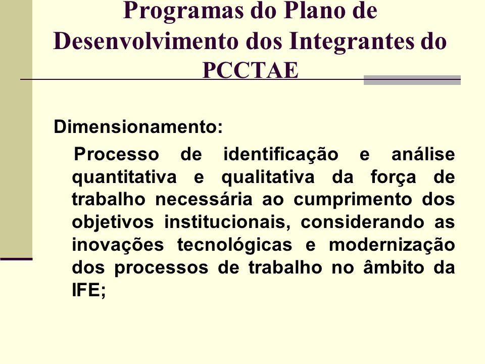 Programas do Plano de Desenvolvimento dos Integrantes do PCCTAE Dimensionamento: Processo de identificação e análise quantitativa e qualitativa da for