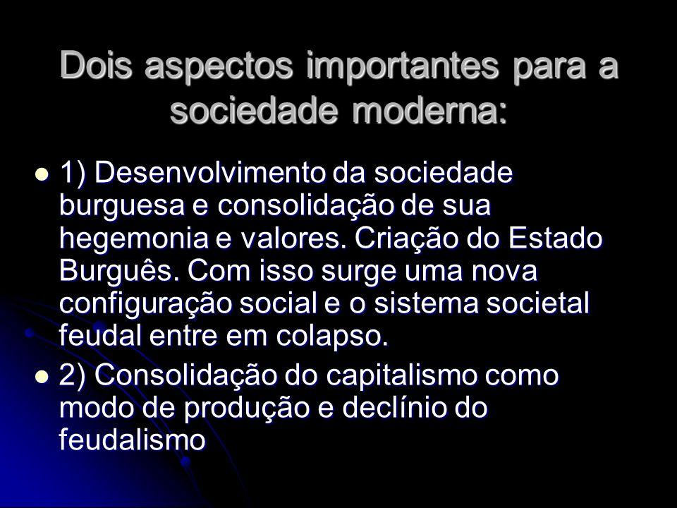 Dois aspectos importantes para a sociedade moderna: 1) Desenvolvimento da sociedade burguesa e consolidação de sua hegemonia e valores. Criação do Est