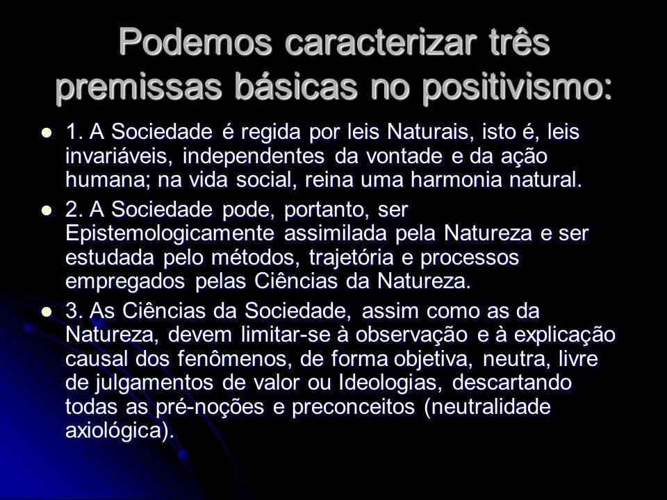 Podemos caracterizar três premissas básicas no positivismo: 1. A Sociedade é regida por leis Naturais, isto é, leis invariáveis, independentes da vont
