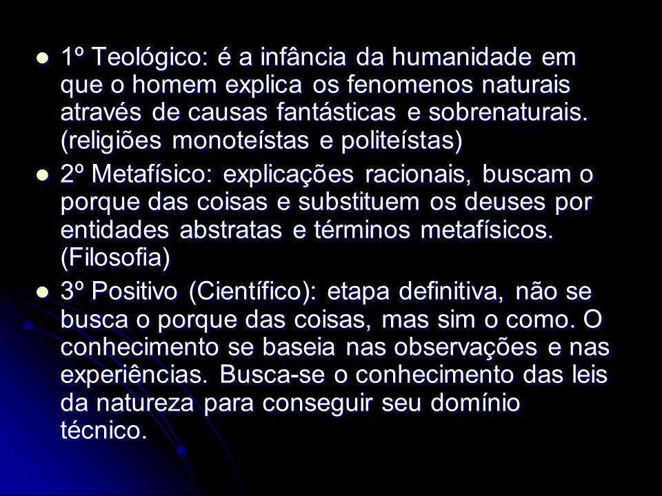 1º Teológico: é a infância da humanidade em que o homem explica os fenomenos naturais através de causas fantásticas e sobrenaturais. (religiões monote