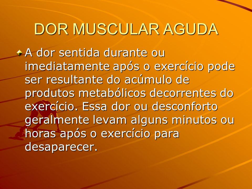 DOR MUSCULAR AGUDA A dor sentida durante ou imediatamente após o exercício pode ser resultante do acúmulo de produtos metabólicos decorrentes do exerc