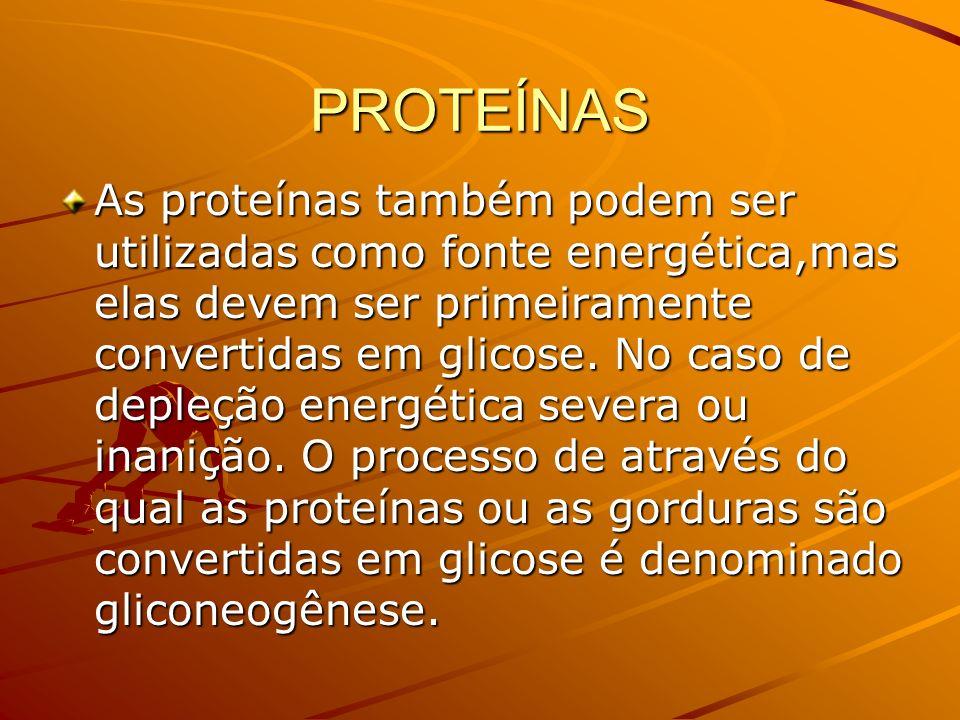 PROTEÍNAS As proteínas também podem ser utilizadas como fonte energética,mas elas devem ser primeiramente convertidas em glicose. No caso de depleção