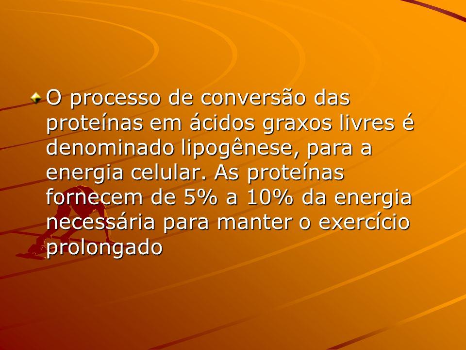 O processo de conversão das proteínas em ácidos graxos livres é denominado lipogênese, para a energia celular. As proteínas fornecem de 5% a 10% da en