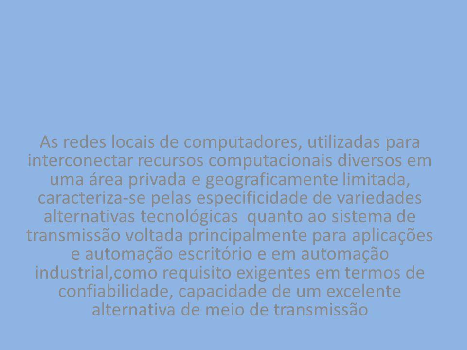As redes locais de computadores, utilizadas para interconectar recursos computacionais diversos em uma área privada e geograficamente limitada, caract