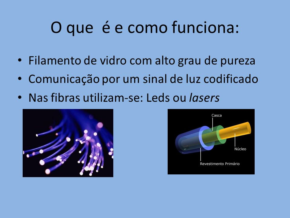 O que é e como funciona: Filamento de vidro com alto grau de pureza Comunicação por um sinal de luz codificado Nas fibras utilizam-se: Leds ou lasers