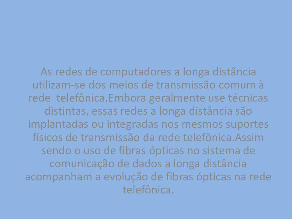 As redes de computadores a longa distância utilizam-se dos meios de transmissão comum à rede telefônica.Embora geralmente use técnicas distintas, essa