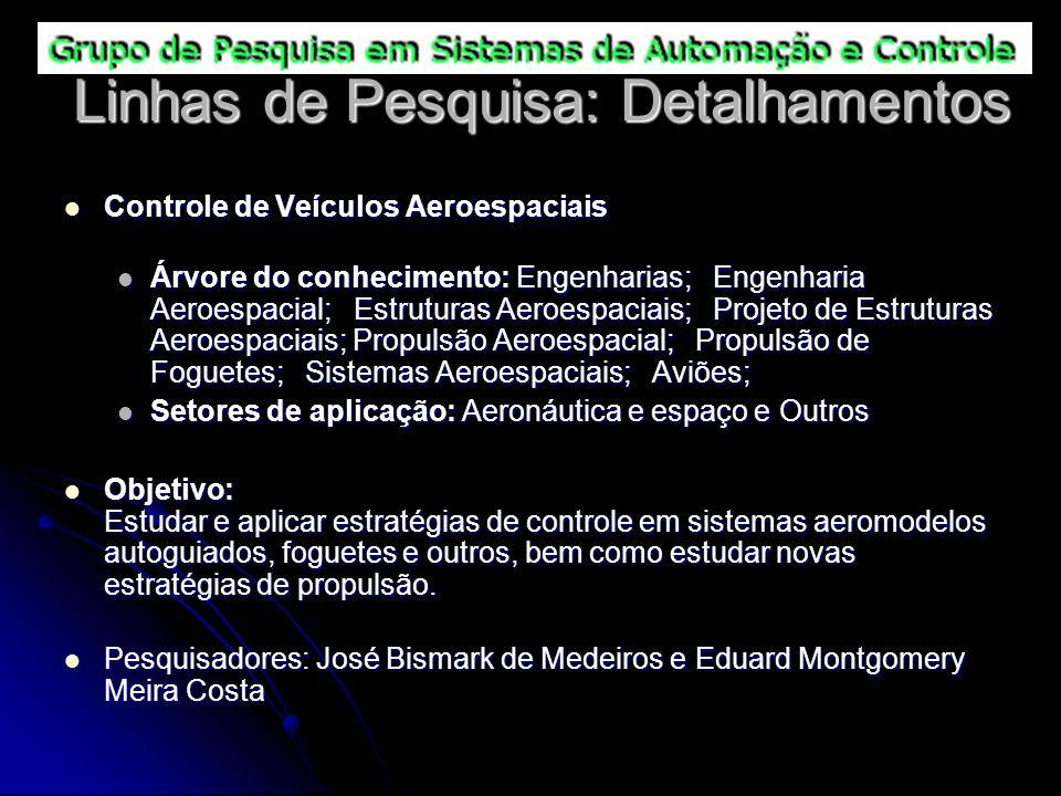 Linhas de Pesquisa: Detalhamentos Controle de Veículos Aeroespaciais Controle de Veículos Aeroespaciais Árvore do conhecimento: Engenharias; Engenhari