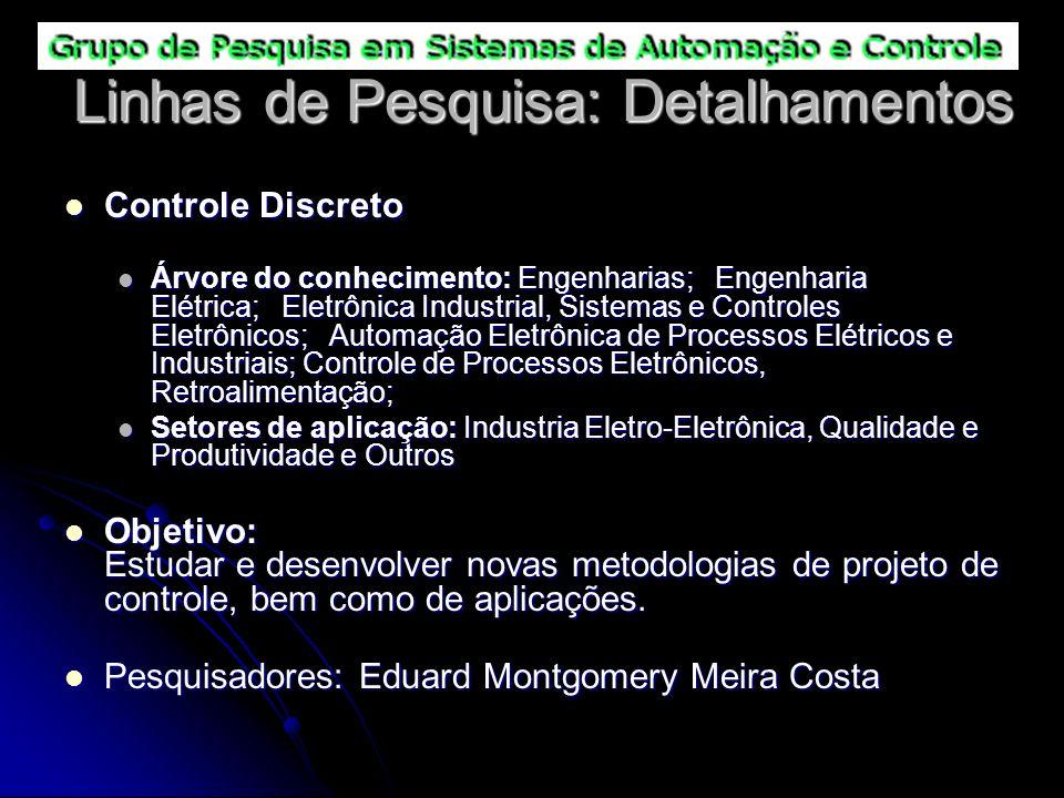 Linhas de Pesquisa: Detalhamentos Controle Discreto Controle Discreto Árvore do conhecimento: Engenharias; Engenharia Elétrica; Eletrônica Industrial,