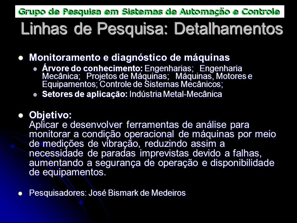 Linhas de Pesquisa: Detalhamentos Monitoramento e diagnóstico de máquinas Monitoramento e diagnóstico de máquinas Árvore do conhecimento: Engenharias;
