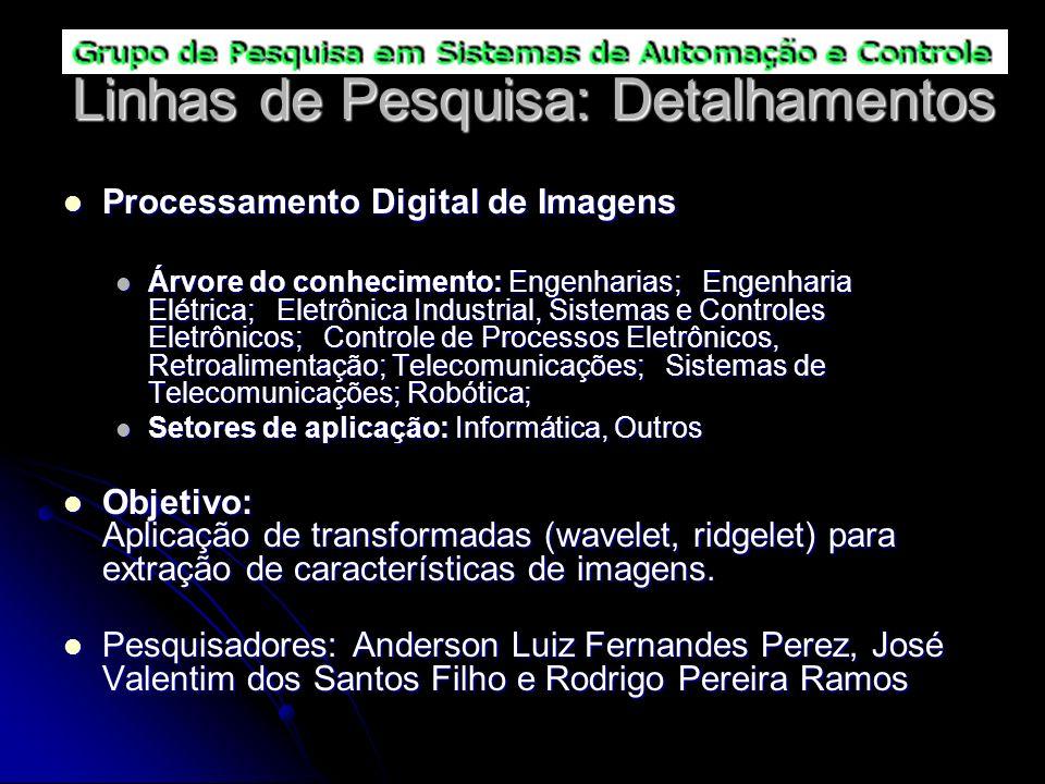Linhas de Pesquisa: Detalhamentos Processamento Digital de Imagens Processamento Digital de Imagens Árvore do conhecimento: Engenharias; Engenharia El