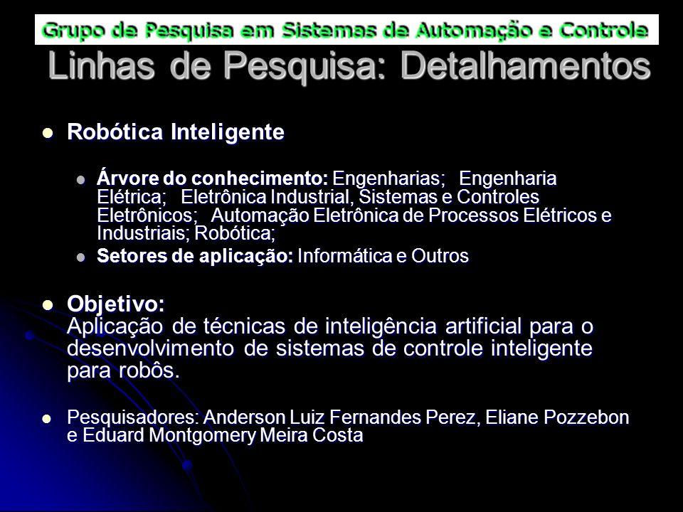 Linhas de Pesquisa: Detalhamentos Robótica Inteligente Robótica Inteligente Árvore do conhecimento: Engenharias; Engenharia Elétrica; Eletrônica Indus