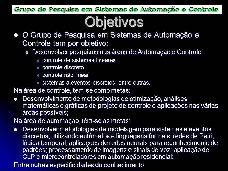 Objetivos O Grupo de Pesquisa em Sistemas de Automação e Controle tem por objetivo: O Grupo de Pesquisa em Sistemas de Automação e Controle tem por ob
