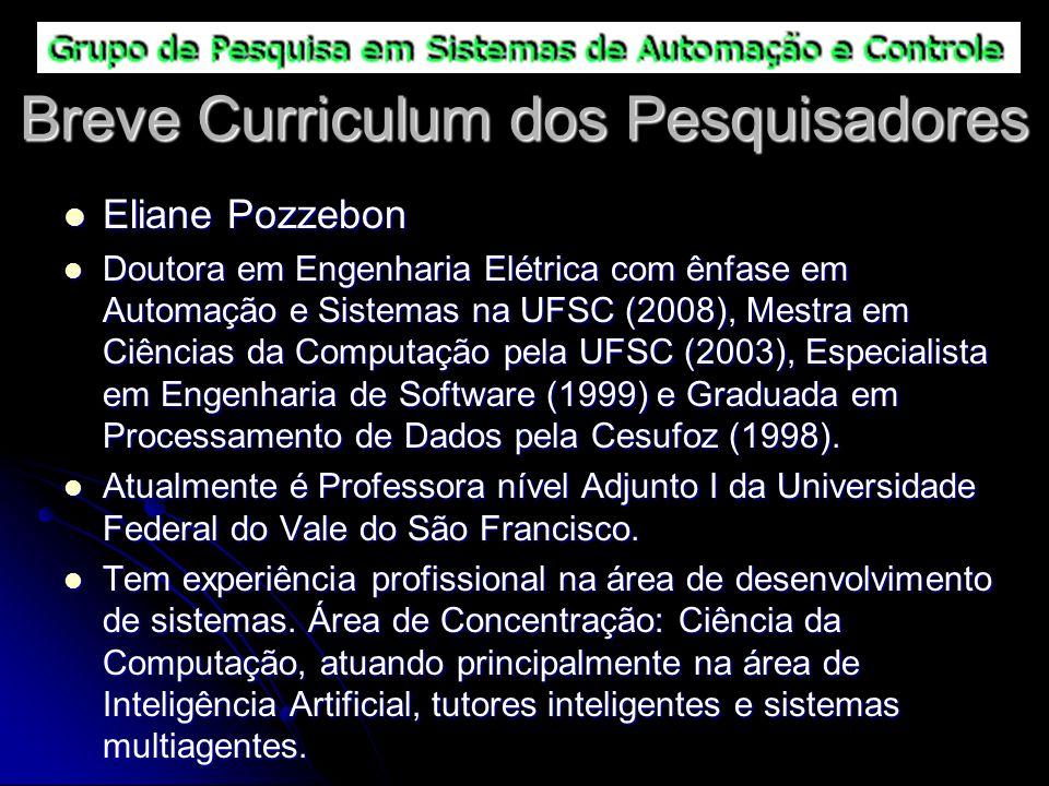 Breve Curriculum dos Pesquisadores Eliane Pozzebon Eliane Pozzebon Doutora em Engenharia Elétrica com ênfase em Automação e Sistemas na UFSC (2008), M