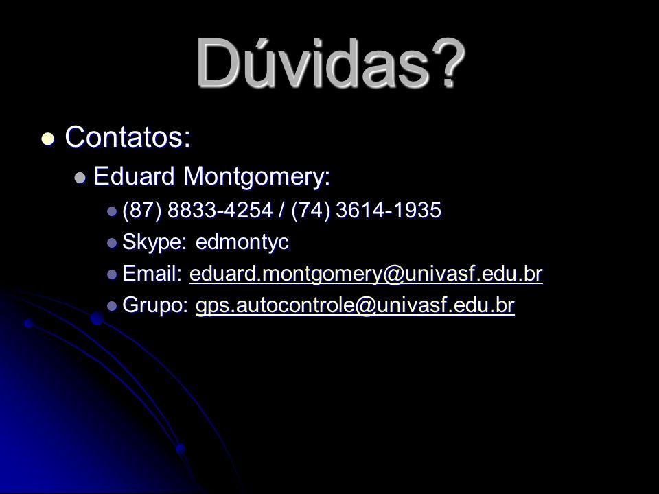 Dúvidas? Contatos: Contatos: Eduard Montgomery: Eduard Montgomery: (87) 8833-4254 / (74) 3614-1935 (87) 8833-4254 / (74) 3614-1935 Skype: edmontyc Sky