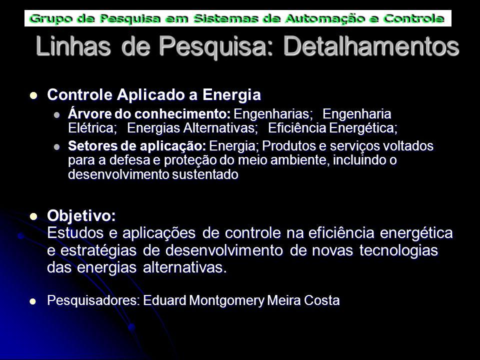 Linhas de Pesquisa: Detalhamentos Controle Aplicado a Energia Controle Aplicado a Energia Árvore do conhecimento: Engenharias; Engenharia Elétrica; En