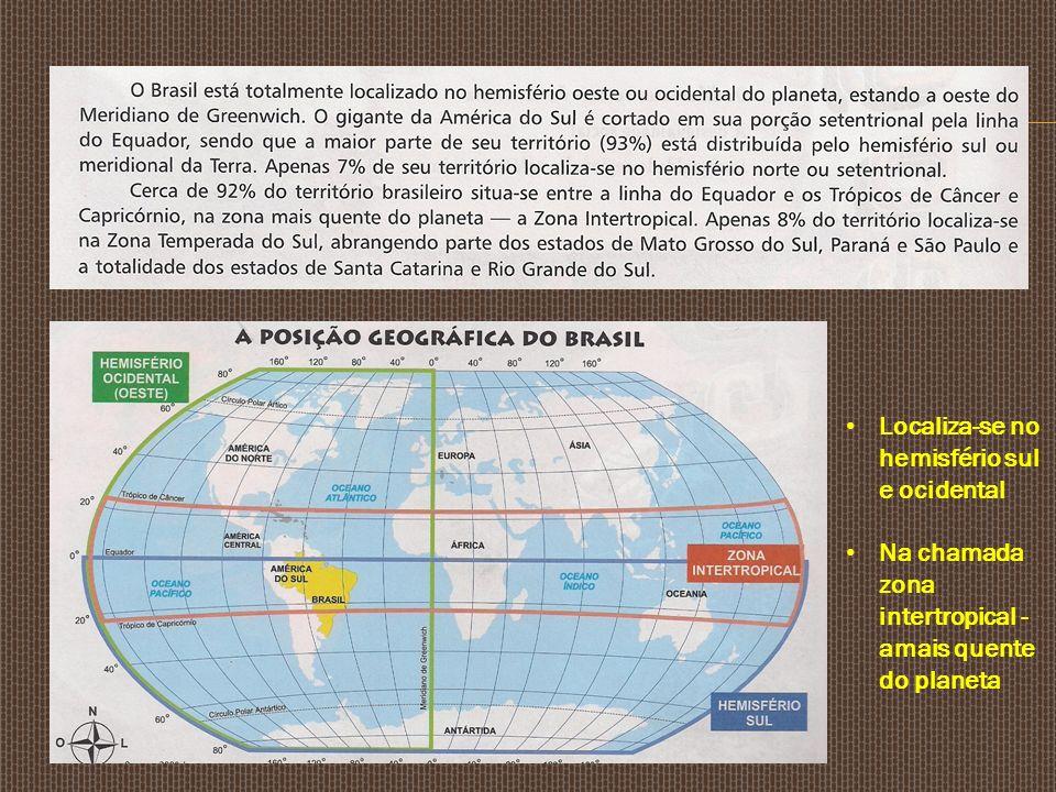 Localiza-se no hemisfério sul e ocidental Na chamada zona intertropical - amais quente do planeta