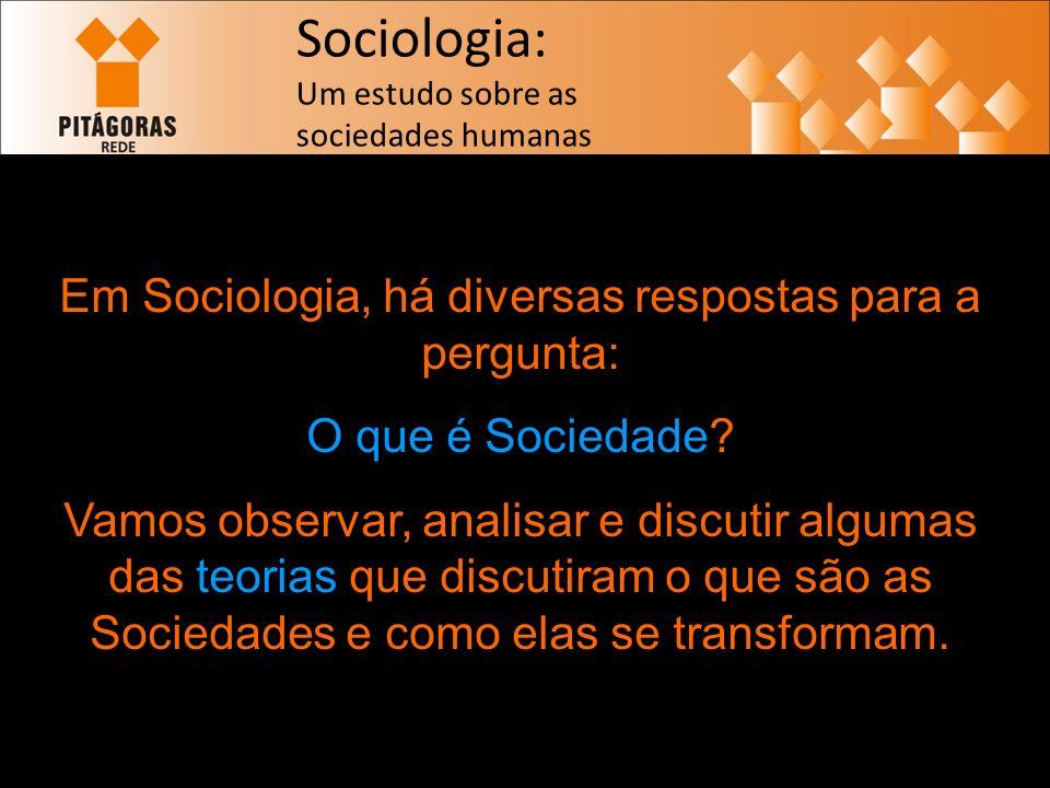 Em Sociologia, há diversas respostas para a pergunta: O que é Sociedade.