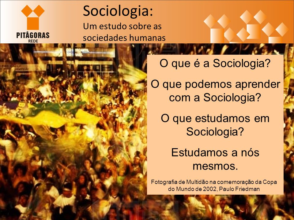 Sociologia: Um estudo sobre as sociedades humanas O que é a Sociologia.