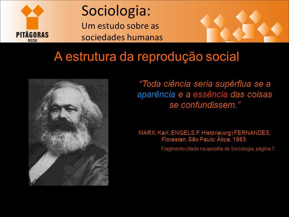 Sociologia: Um estudo sobre as sociedades humanas A estrutura da reprodução social Toda ciência seria supérflua se a aparência e a essência das coisas se confundissem.