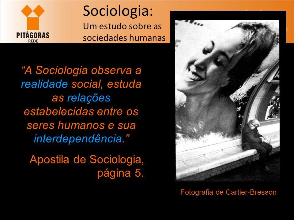 Sociologia: Um estudo sobre as sociedades humanas A Sociologia observa a realidade social, estuda as relações estabelecidas entre os seres humanos e sua interdependência.