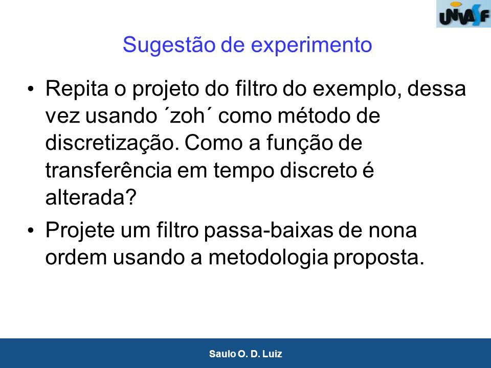 27 Saulo O. D. Luiz Sugestão de experimento Repita o projeto do filtro do exemplo, dessa vez usando ´zoh´ como método de discretização. Como a função