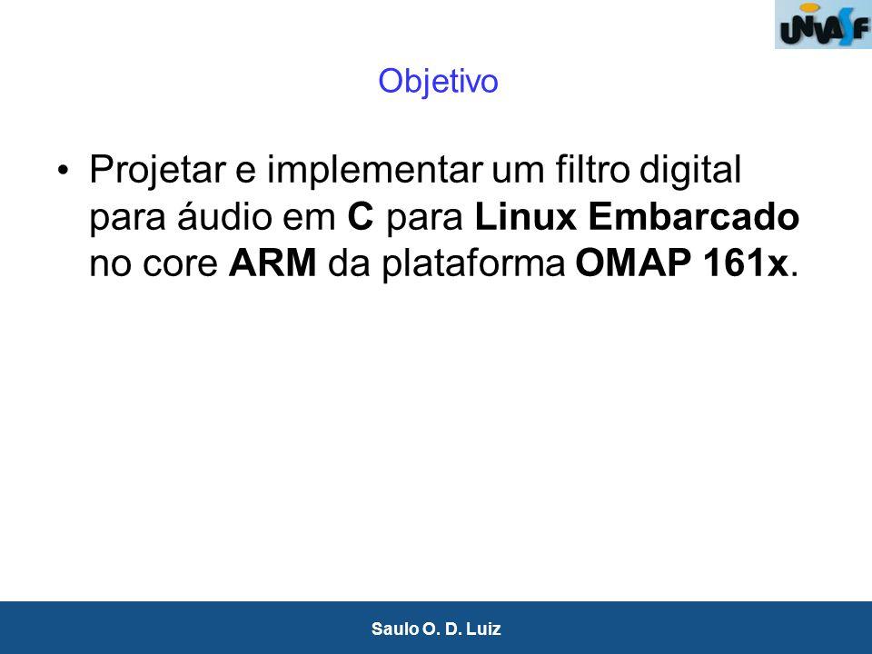 3 Saulo O. D. Luiz Objetivo Projetar e implementar um filtro digital para áudio em C para Linux Embarcado no core ARM da plataforma OMAP 161x.