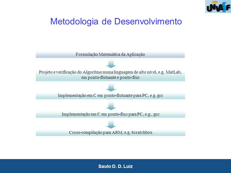 4 Saulo O. D. Luiz Metodologia de Desenvolvimento Formulação Matemática da Aplicação Projeto e verificação do Algoritmo numa linguagem de alto nível,