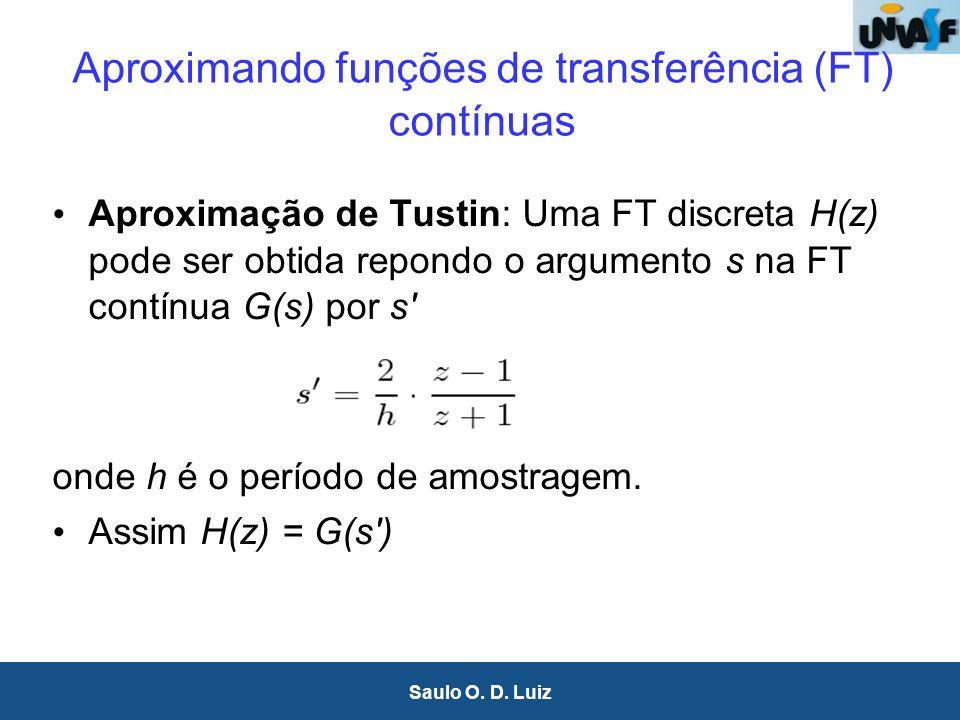 9 Saulo O. D. Luiz Aproximando funções de transferência (FT) contínuas Aproximação de Tustin: Uma FT discreta H(z) pode ser obtida repondo o argumento