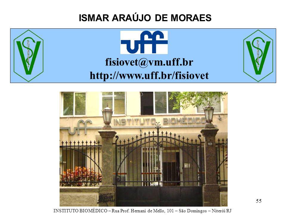 55 ISMAR ARAÚJO DE MORAES fisiovet@vm.uff.br http://www.uff.br/fisiovet INSTITUTO BIOMÉDICO – Rua Prof. Hernani de Mello, 101 – São Domingos – Niterói