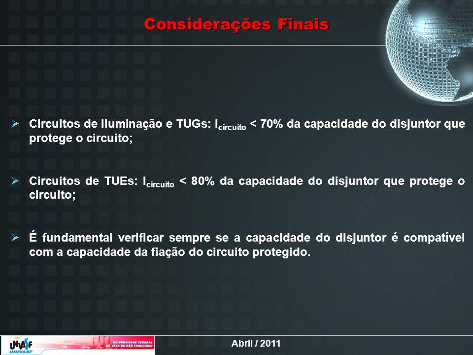 Abril / 2011 Considerações Finais Circuitos de iluminação e TUGs: I circuito < 70% da capacidade do disjuntor que protege o circuito; Circuitos de TUE