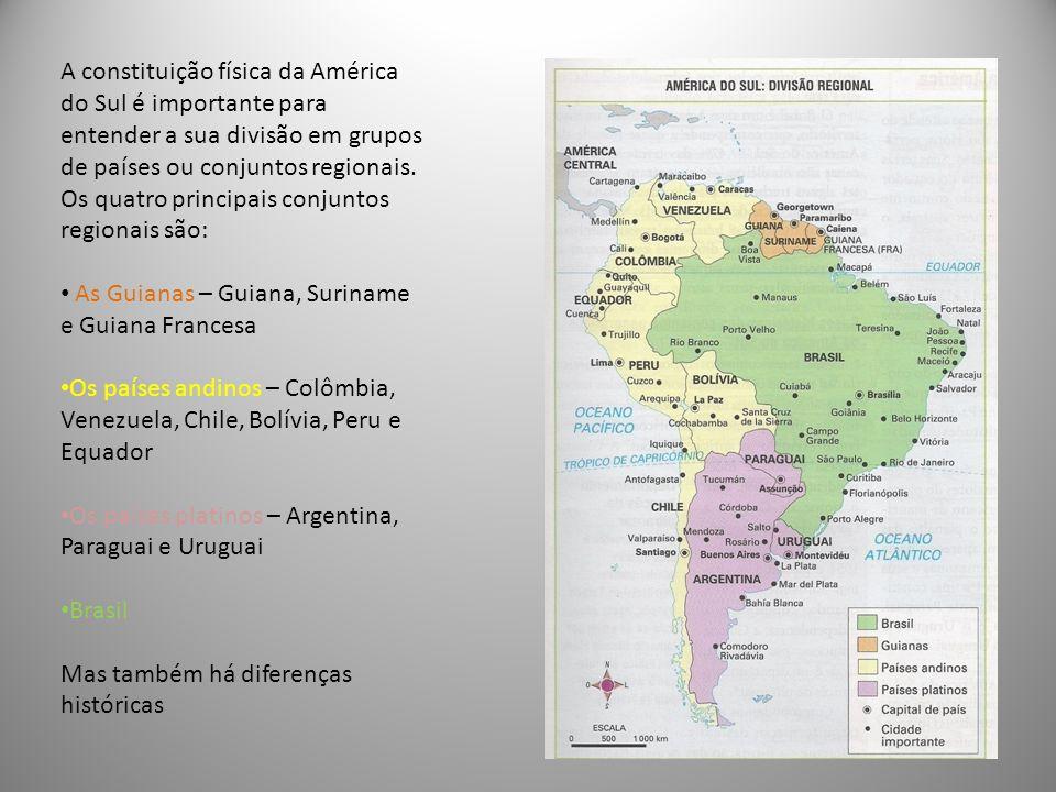 A constituição física da América do Sul é importante para entender a sua divisão em grupos de países ou conjuntos regionais. Os quatro principais conj
