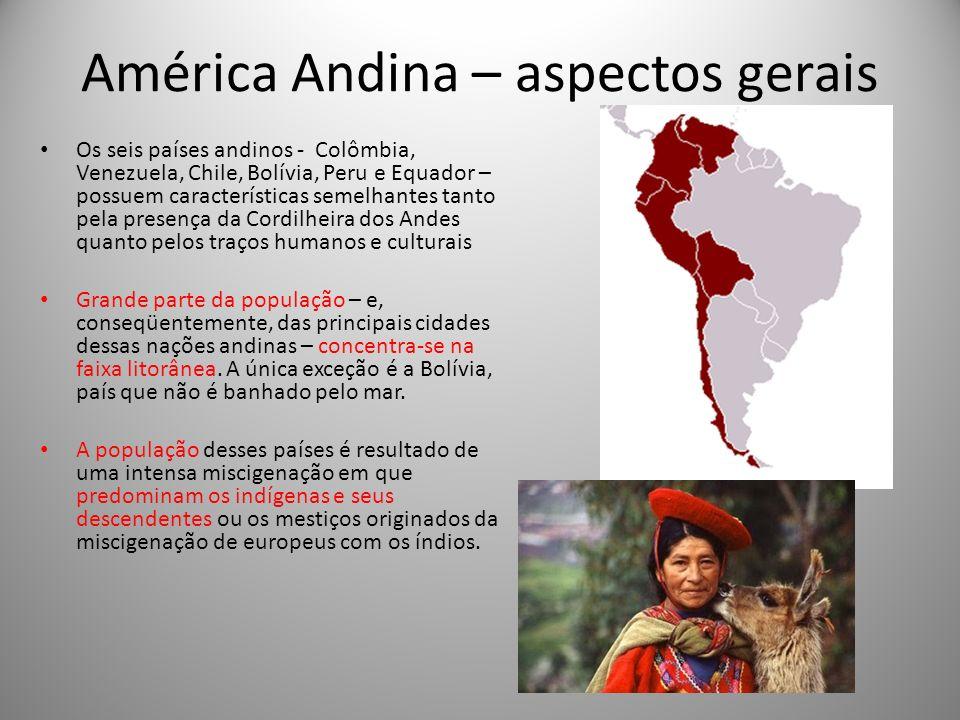 América Andina – aspectos gerais Os seis países andinos - Colômbia, Venezuela, Chile, Bolívia, Peru e Equador – possuem características semelhantes ta