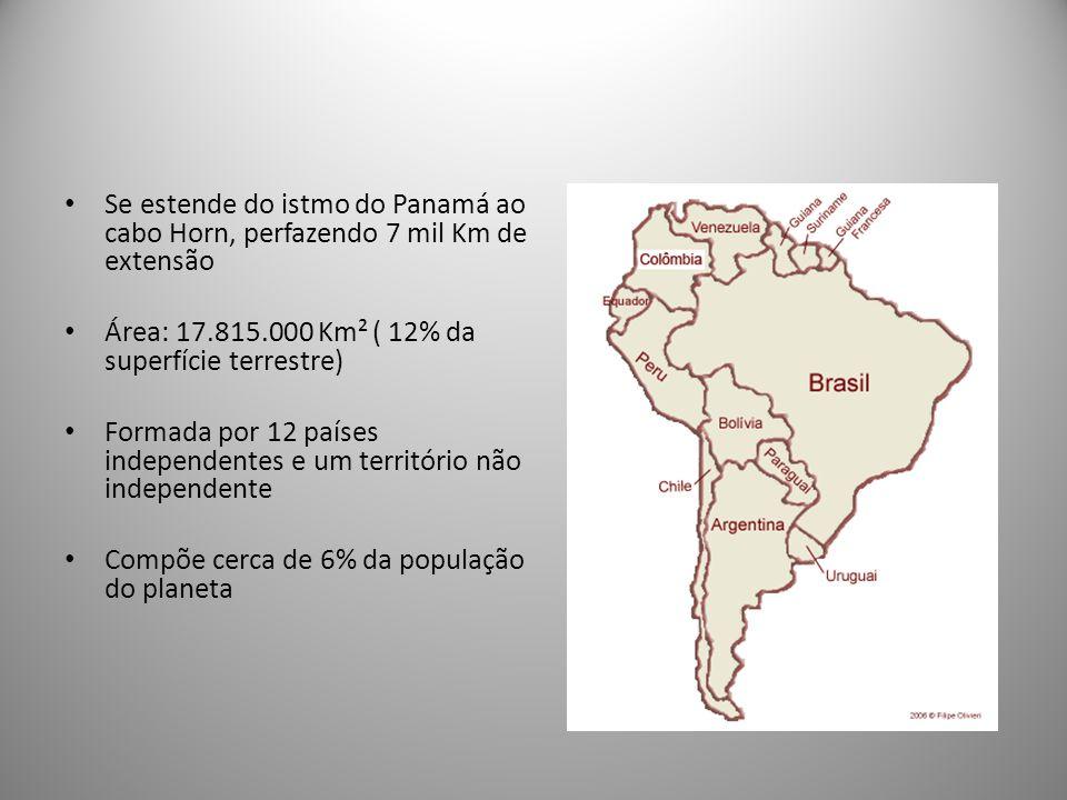 Se estende do istmo do Panamá ao cabo Horn, perfazendo 7 mil Km de extensão Área: 17.815.000 Km² ( 12% da superfície terrestre) Formada por 12 países