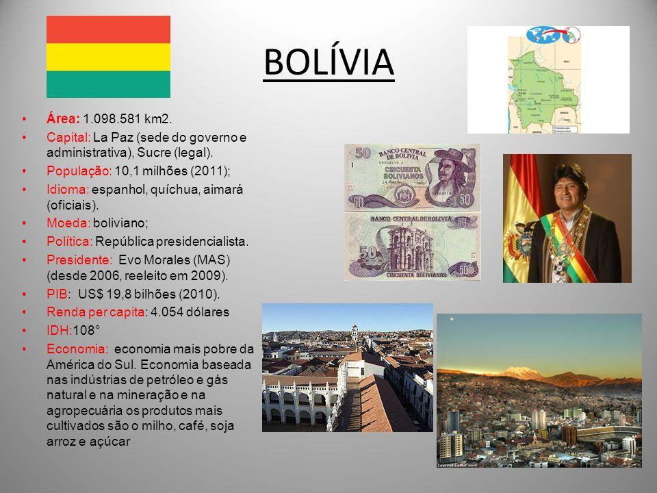 BOLÍVIA Área: 1.098.581 km2. Capital: La Paz (sede do governo e administrativa), Sucre (legal). População: 10,1 milhões (2011); Idioma: espanhol, quíc