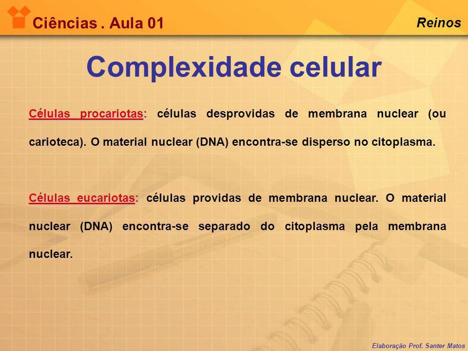 Elaboração Prof. Santer Matos Ciências. Aula 01 Reinos Células procariotas: Células procariotas: células desprovidas de membrana nuclear (ou carioteca
