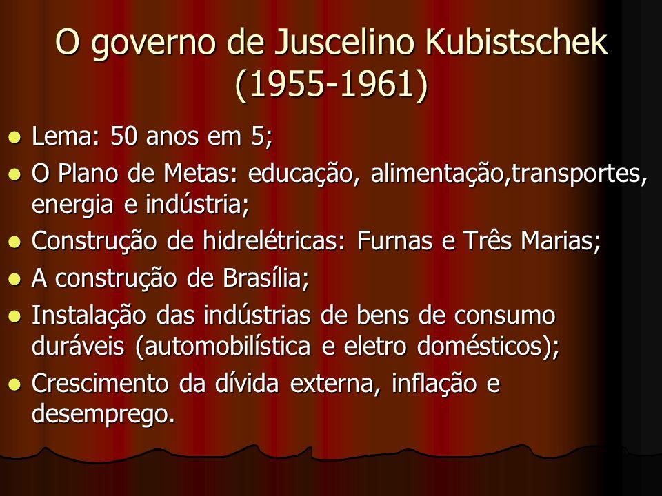O governo de Juscelino Kubistschek (1955-1961) Lema: 50 anos em 5; Lema: 50 anos em 5; O Plano de Metas: educação, alimentação,transportes, energia e indústria; O Plano de Metas: educação, alimentação,transportes, energia e indústria; Construção de hidrelétricas: Furnas e Três Marias; Construção de hidrelétricas: Furnas e Três Marias; A construção de Brasília; A construção de Brasília; Instalação das indústrias de bens de consumo duráveis (automobilística e eletro domésticos); Instalação das indústrias de bens de consumo duráveis (automobilística e eletro domésticos); Crescimento da dívida externa, inflação e desemprego.