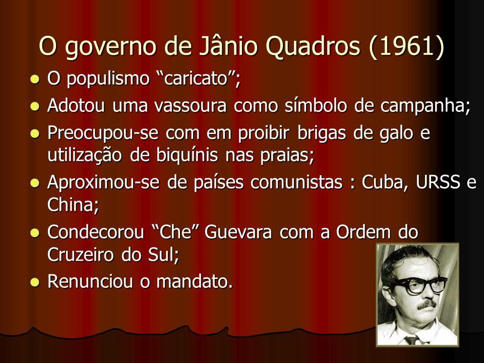 O governo de Jânio Quadros (1961) O populismo caricato; O populismo caricato; Adotou uma vassoura como símbolo de campanha; Adotou uma vassoura como símbolo de campanha; Preocupou-se com em proibir brigas de galo e utilização de biquínis nas praias; Preocupou-se com em proibir brigas de galo e utilização de biquínis nas praias; Aproximou-se de países comunistas : Cuba, URSS e China; Aproximou-se de países comunistas : Cuba, URSS e China; Condecorou Che Guevara com a Ordem do Cruzeiro do Sul; Condecorou Che Guevara com a Ordem do Cruzeiro do Sul; Renunciou o mandato.