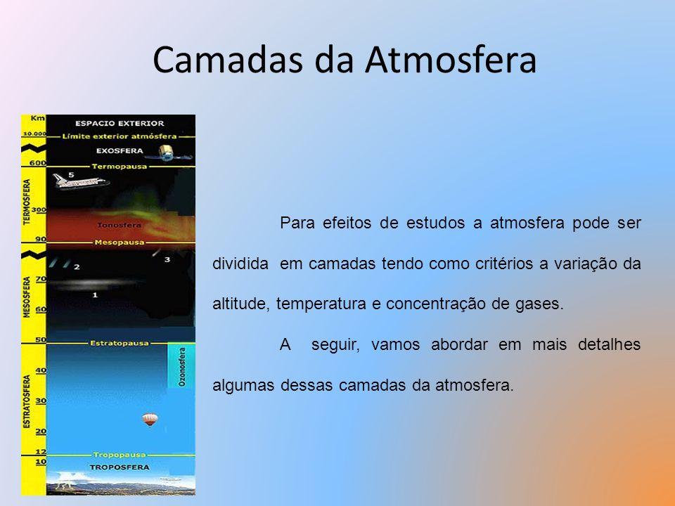 Camadas da Atmosfera Para efeitos de estudos a atmosfera pode ser dividida em camadas tendo como critérios a variação da altitude, temperatura e conce