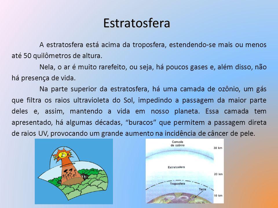 Estratosfera A estratosfera está acima da troposfera, estendendo-se mais ou menos até 50 quilômetros de altura. Nela, o ar é muito rarefeito, ou seja,