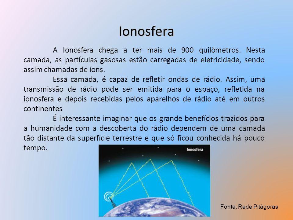 Ionosfera A Ionosfera chega a ter mais de 900 quilômetros. Nesta camada, as partículas gasosas estão carregadas de eletricidade, sendo assim chamadas
