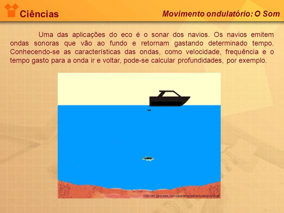 Ciências Movimento ondulatório: O Som http://br.geocities.com/saladefisica5/leituras/eco10.gif Uma das aplicações do eco é o sonar dos navios. Os navi