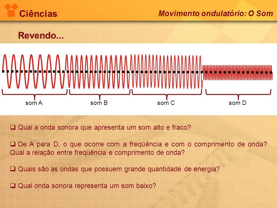 Ciências Revendo... Movimento ondulatório: O Som som Asom Bsom Csom D Qual a onda sonora que apresenta um som alto e fraco? De A para D, o que ocorre