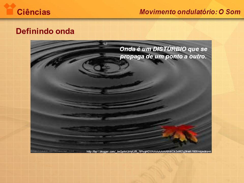 Ciências Definindo onda Onda é um DISTÚRBIO que se propaga de um ponto a outro. http://bp1.blogger.com/_ImQyAnUrnyU/R_7tPygiADI/AAAAAAAAAN4/Ok3v982g3k