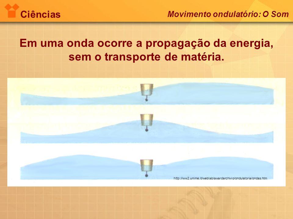 Ciências Em uma onda ocorre a propagação da energia, sem o transporte de matéria. http://ww2.unime.it/weblab/awardarchivio/ondulatoria/ondas.htm Movim